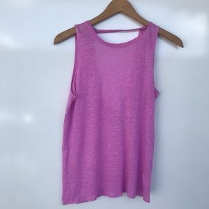 CHASER Linen Keyhole Top Sz S